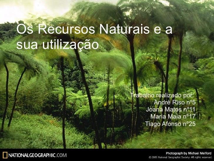 Os Recursos Naturais e a sua utilização Trabalho realizado por:  André Riso nº5 Joana Matos nº11 Maria Maia nº17 Tiago Afo...
