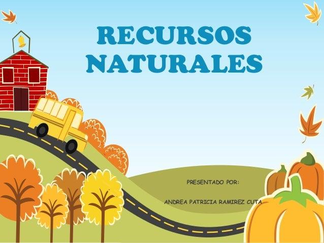 RECURSOS NATURALES PRESENTADO POR: ANDREA PATRICIA RAMIREZ CUTA