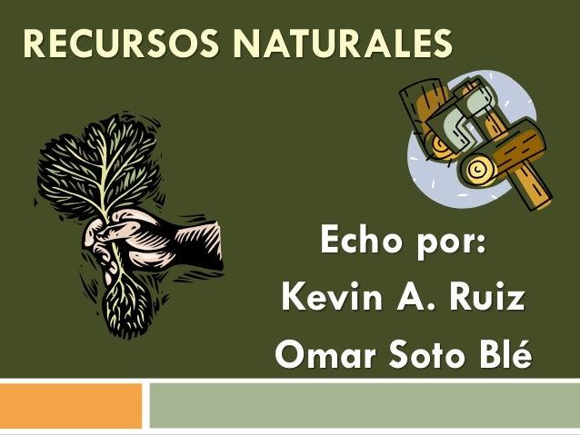 RECURSOS NATURALES  Echo por: Kevin A. Ruiz Omar Soto Blé