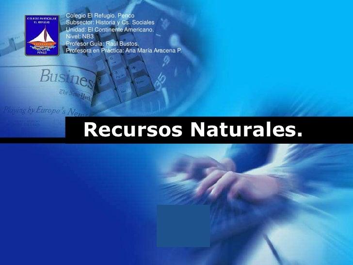 Colegio El Refugio. PencoSubsector: Historia y Cs. SocialesUnidad: El Continente Americano.Nivel: NB3Profesor Guía: Raúl B...