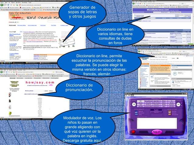 Generador de   sopas de letras   y otros juegos                     Diccionario on line en                     varios idio...