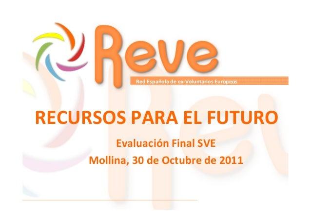 Red Española de ex-Voluntarios Europeos  RECURSOS PARA EL FUTURO Evaluación Final SVE Mollina, 30 de Octubre de 2011