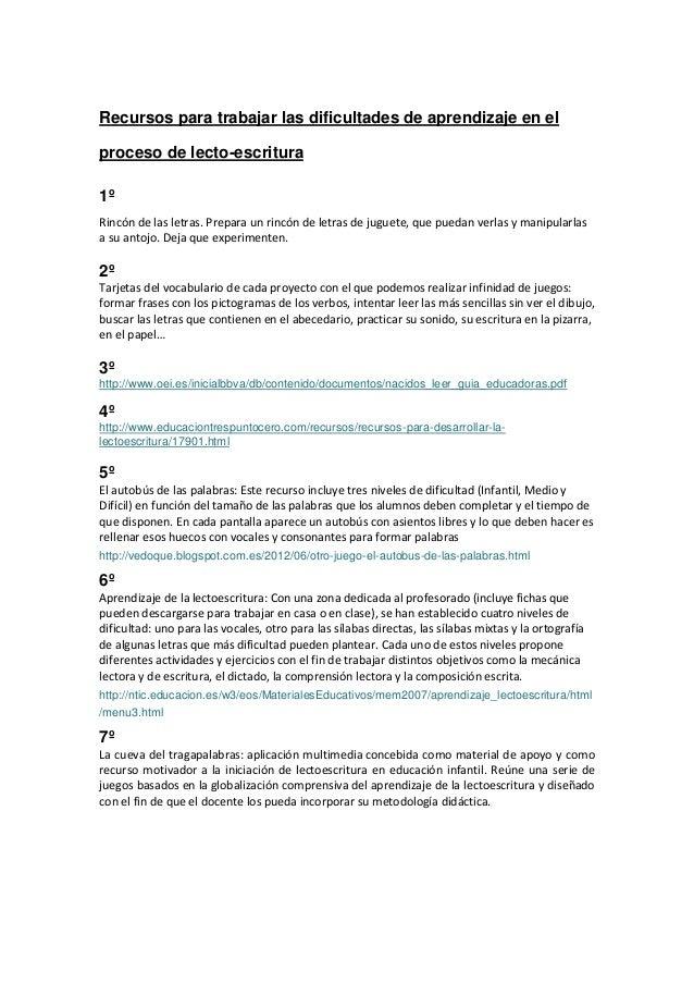 Recursos para trabajar las dificultades de aprendizaje en el proceso de lecto-escritura 1º Rincón de las letras. Prepara u...