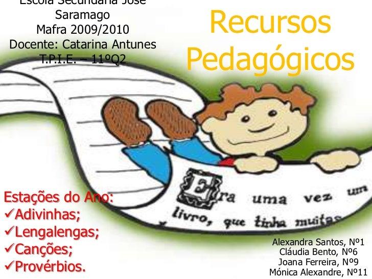 Escola Secundaria José SaramagoMafra 2009/2010Docente: Catarina AntunesT.P.I.E. – 11ºQ2<br />Recursos Pedagógicos <br />Es...