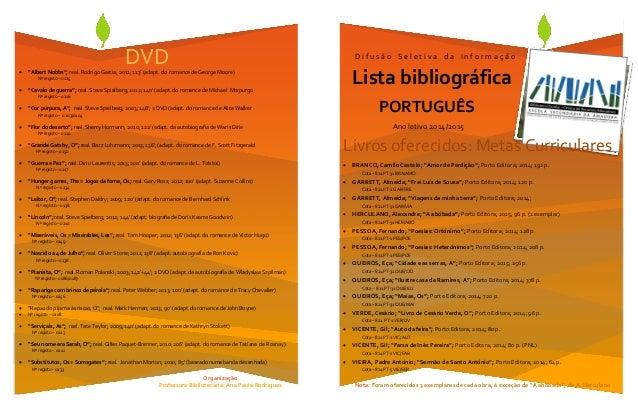 Lista bibliogr fica D i f u s ã o S e l e t i v a d a I n f o r m a ç ã o Organização Professora Bibliotecária: Ana Paula ...
