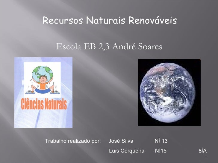 Trabalho realizado por:  José Silva  Nº 13 Luis Cerqueira  Nº15  8ºA Recursos Naturais Renováveis Escola EB 2,3 André Soares