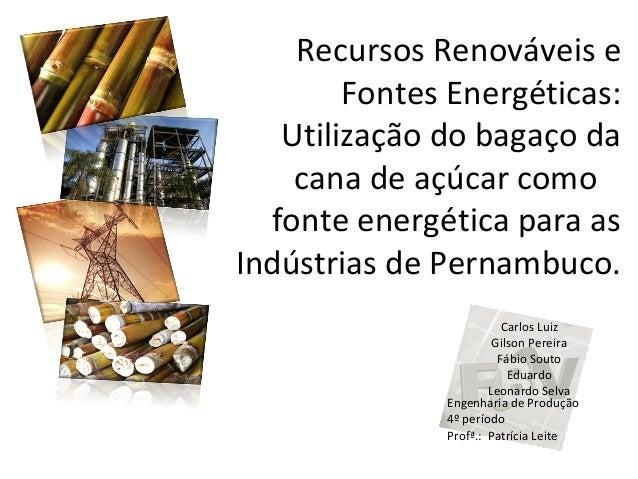 Recursos Renováveis e Fontes Energéticas: Utilização do bagaço da cana de açúcar como fonte energética para as Indústrias ...