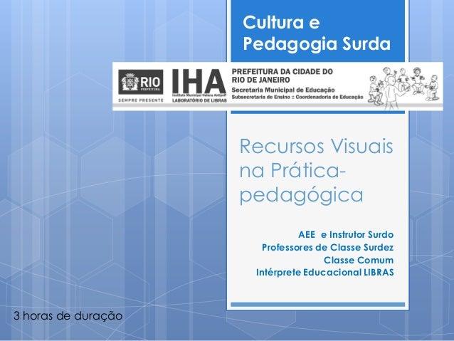 Cultura e                     Pedagogia Surda                     Recursos Visuais                     na Prática-        ...