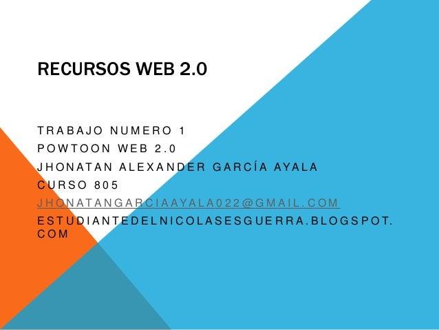 RECURSOS WEB 2.0 T R A B A J O N U M E R O 1 P O W T O O N W E B 2 . 0 J H O N AT A N A L E X A N D E R G A R C Í A AYA L ...
