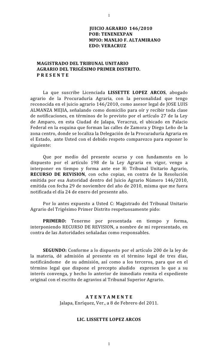 1                           JUICIO AGRARIO 146/2010                           POB: TENENEXPAN                           MP...