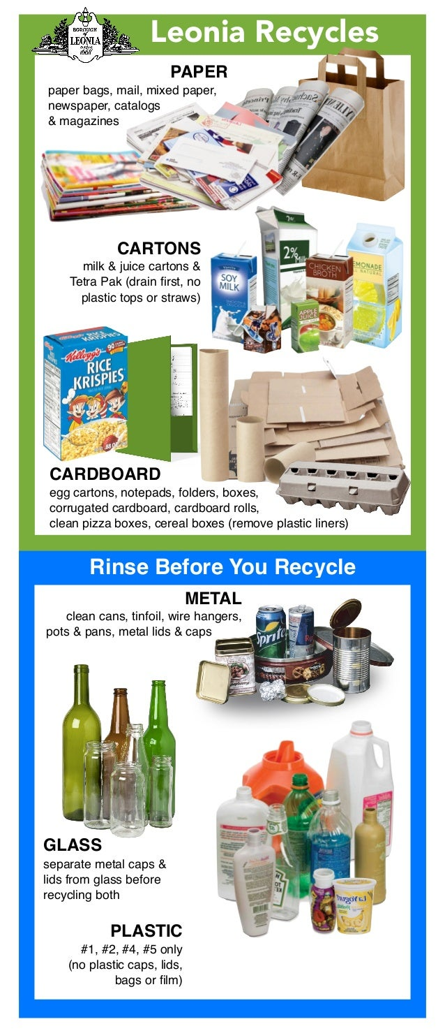 Leonia Recycles PAPER paper bags, mail, mixed paper, newspaper, catalogs & magazines CARTONS milk & juice cartons & Tetr...