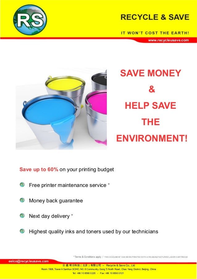 www.recycleusave.com SAVE MONEY & HELP SAVE THE ENVIRONMENT! Save up to 60% on your printing budget Free printer maintenan...
