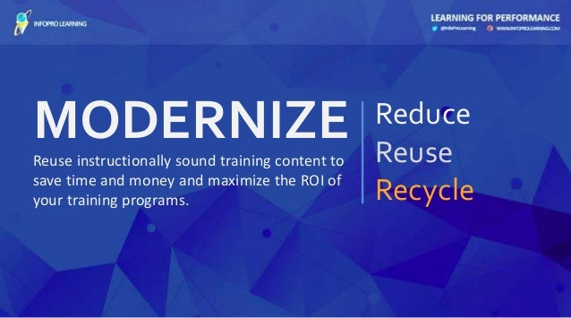 MODERNIZE Reduce Reuse Recycle Reuse instructionally sound training content to save time and money and maximize the ROI of...