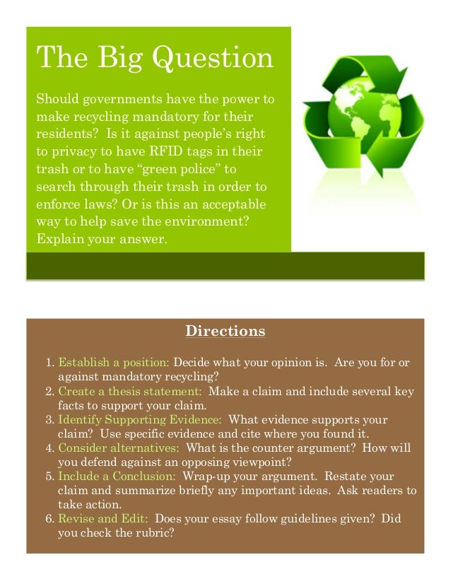 persuasive essay to recycle Have you ever gone to a water source and found a lot of plastic there the solution is discussed in the persuasive speech on recycling.