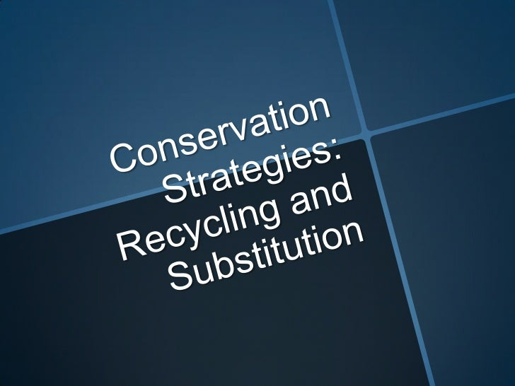 Conservation Strategies: Recycling and Substitution<br />
