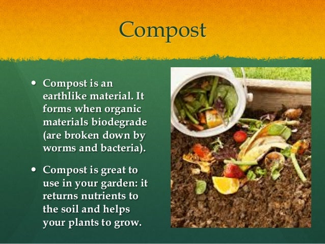 Compost — Compost is an earthlike material. It forms when organic materials biodegrade (are broken down by worms and bact...