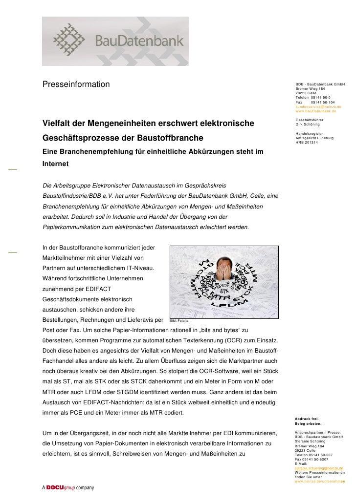 Presseinformation                                                                          BDB - BauDatenbank GmbH        ...