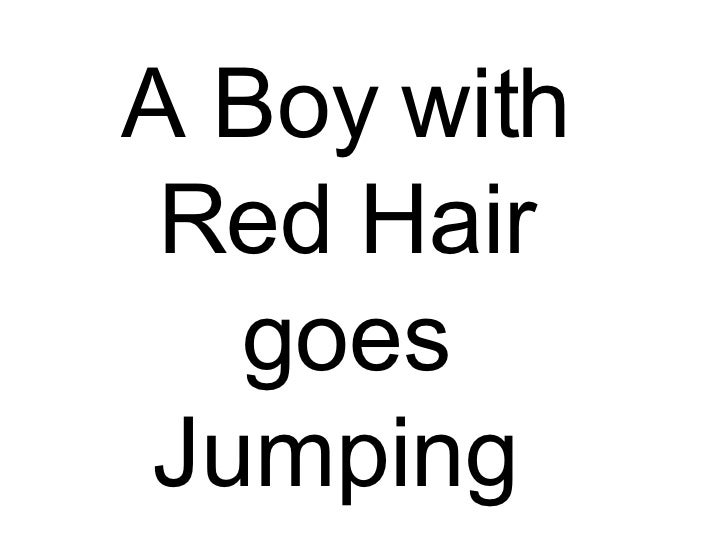 A Boy with Red Hair goes Jumping