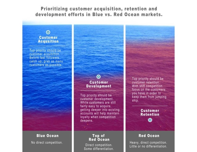 Prioritizing customer acquisition, retention and development efforts in Blue vs. Red Ocean markets.