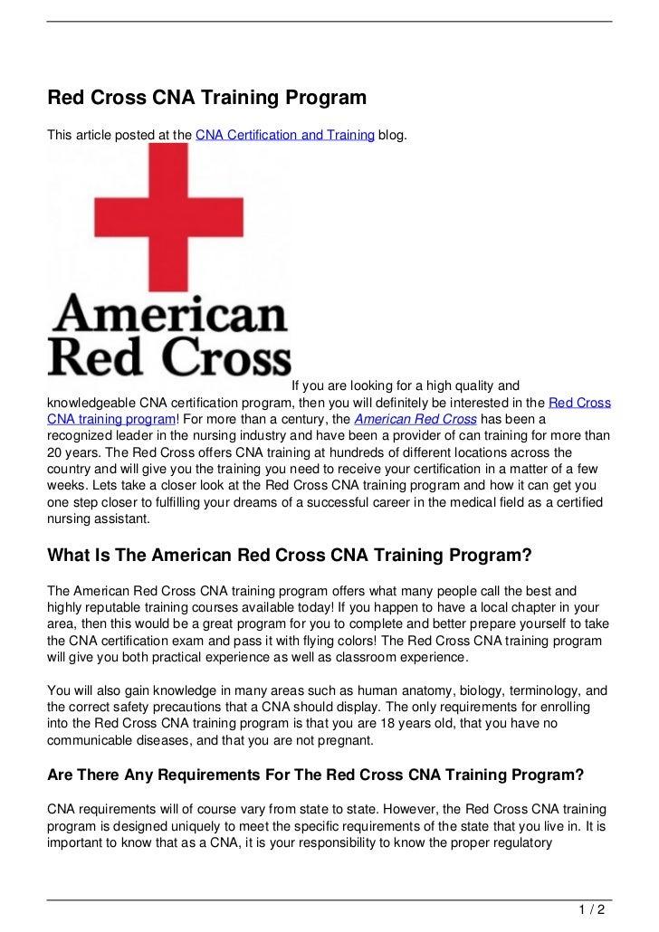Red Cross CNA Training Program