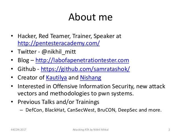 Red Team Revenge - Attacking Microsoft ATA Slide 2