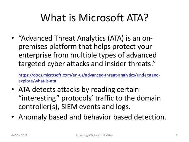 Red Team Revenge - Attacking Microsoft ATA Slide 3