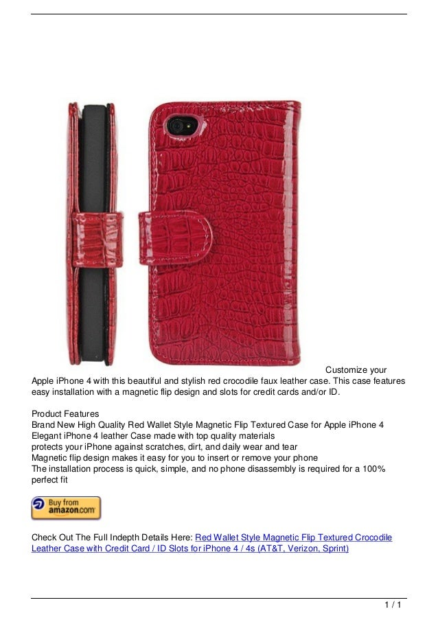 Customize your                                   Apple iPhone 4 with this beautiful and stylish red crocodile faux leather...
