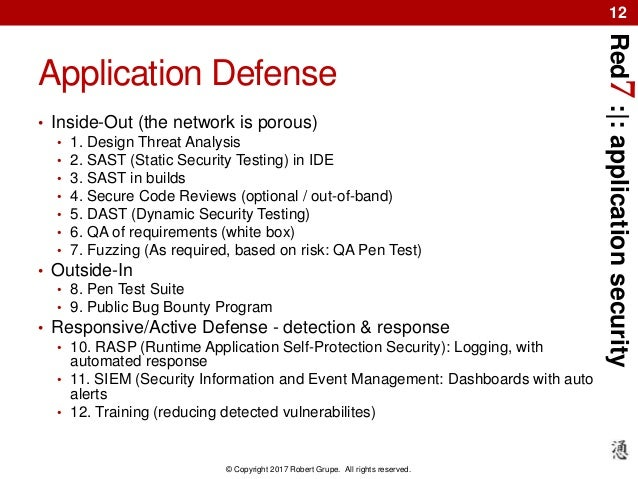 Red7:|:applicationsecurity © Copyright 2017 Robert Grupe. All rights reserved. 12 Application Defense • Inside-Out (the ne...