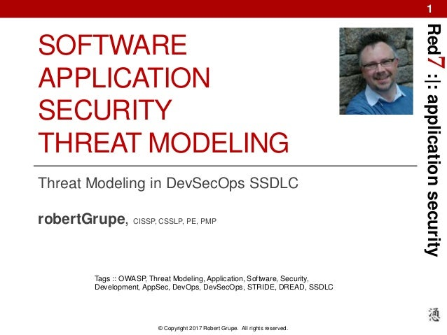 Red7:|:applicationsecurity © Copyright 2017 Robert Grupe. All rights reserved. 1 SOFTWARE APPLICATION SECURITY THREAT MODE...