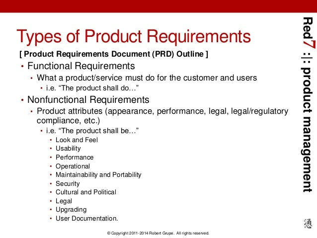 Red Developing Product Requirements Tools And Process - Product requirements document template word