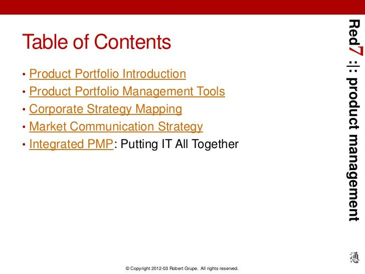 Red7 :|: product managementTable of Contents• Product Portfolio Introduction• Product Portfolio Management Tools• Corporat...