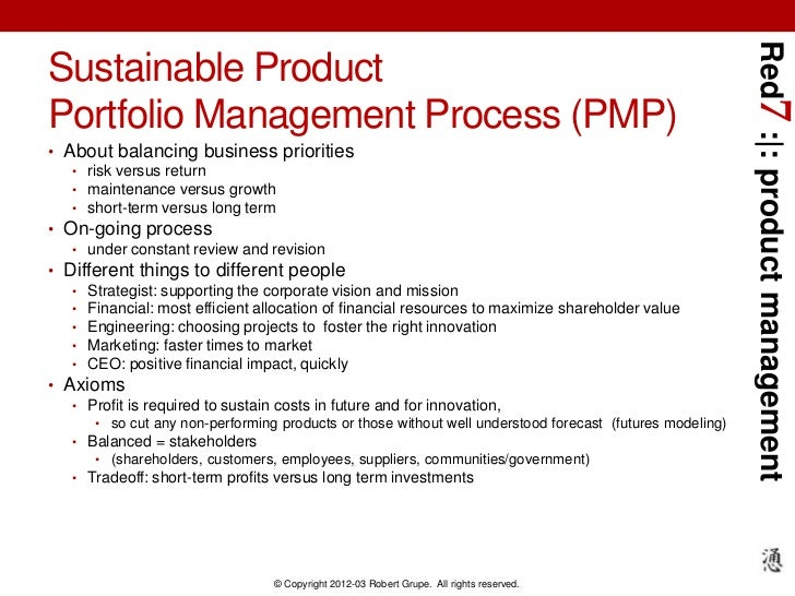 Red7 : : product managementSustainable ProductPortfolio Management Process (PMP)• About balancing business priorities   • ...