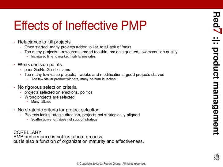 Red7 : : product managementEffects of Ineffective PMP• Reluctance to kill projects   • Once started, many projects added t...