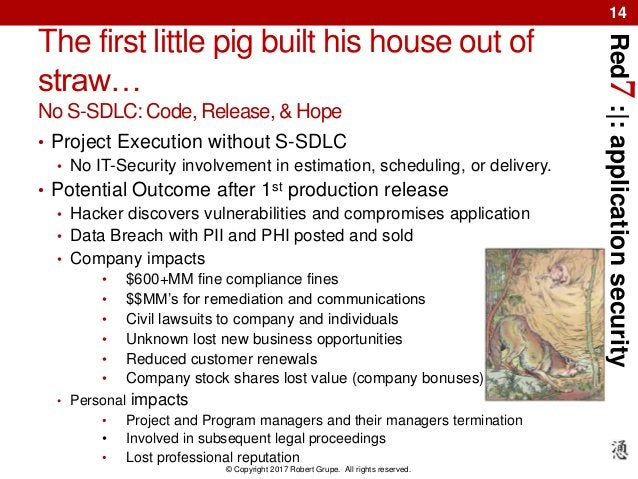 Red7:|:applicationsecurity © Copyright 2017 Robert Grupe. All rights reserved. 14 The first little pig built his house out...