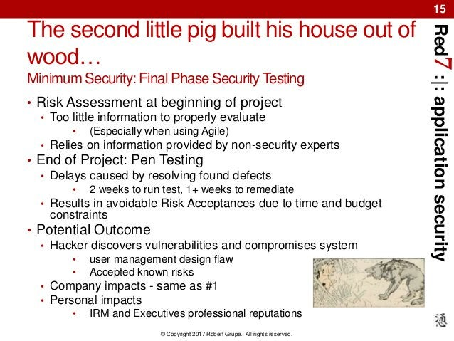 Red7:|:applicationsecurity © Copyright 2017 Robert Grupe. All rights reserved. 15 The second little pig built his house ou...