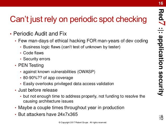 Red7:|:applicationsecurity © Copyright 2017 Robert Grupe. All rights reserved. 16 Can't just rely on periodic spot checkin...