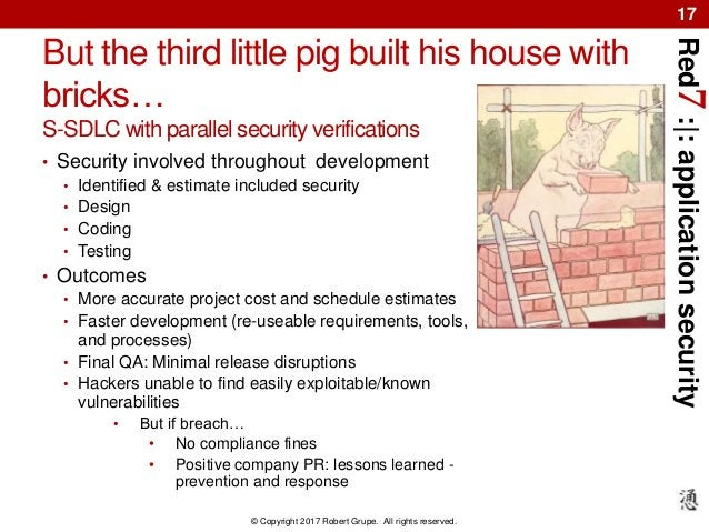 Red7:|:applicationsecurity © Copyright 2017 Robert Grupe. All rights reserved. 17 But the third little pig built his house...