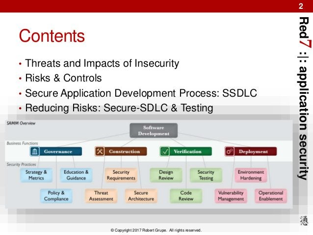 Red7:|:applicationsecurity © Copyright 2017 Robert Grupe. All rights reserved. 2 Contents • Threats and Impacts of Insecur...