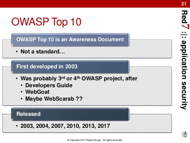 Red7:|:applicationsecurity © Copyright 2017 Robert Grupe. All rights reserved. 21 OWASP Top 10 • Not a standard… OWASP Top...