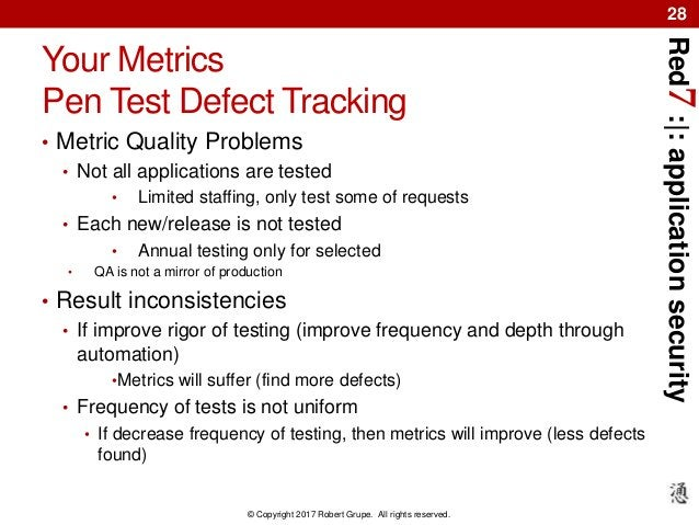 Red7:|:applicationsecurity © Copyright 2017 Robert Grupe. All rights reserved. 28 Your Metrics Pen Test Defect Tracking • ...