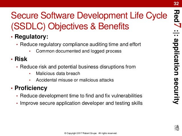 Red7:|:applicationsecurity © Copyright 2017 Robert Grupe. All rights reserved. 32 Secure Software Development Life Cycle (...