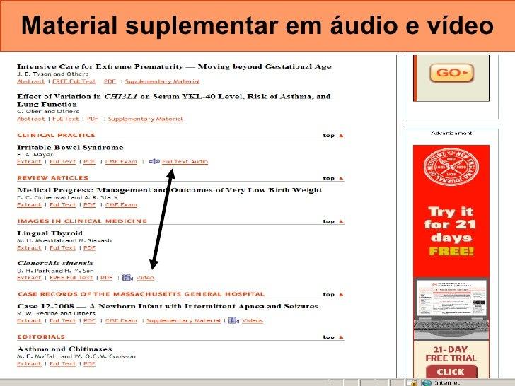 Material suplementar em áudio e vídeo