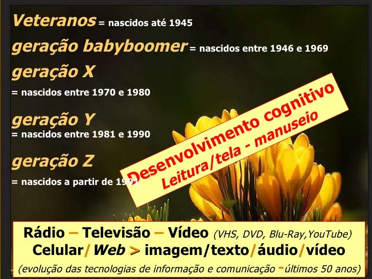 Rádio  –  Televisão  –  Vídeo  (VHS, DVD, Blu-Ray,YouTube)  Celular / Web   >  imagem/texto / áudio / vídeo  (evolução das...