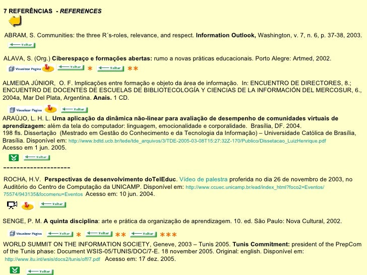 7 REFERÊNCIAS  -  REFERENCES ABRAM, S. Communities: the three R´s-roles, relevance, and respect.  Information Outlook,  Wa...