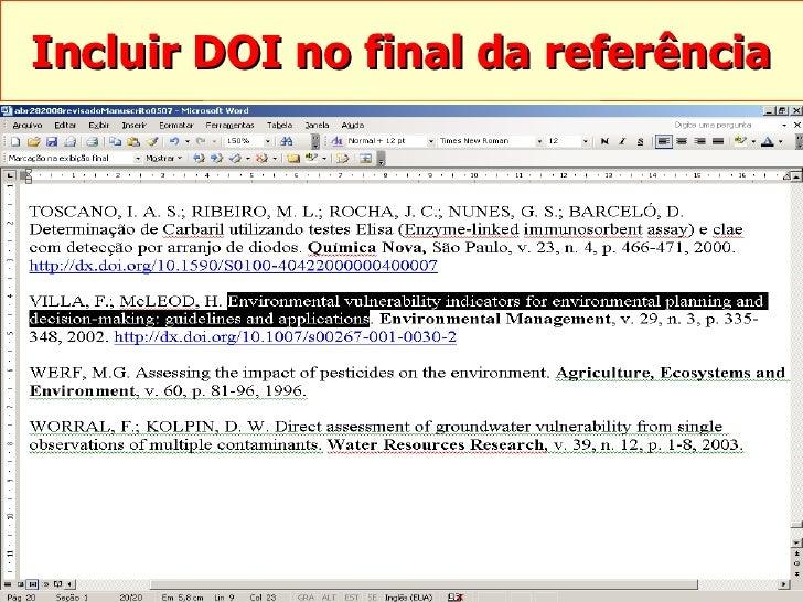 Incluir DOI no final da referência