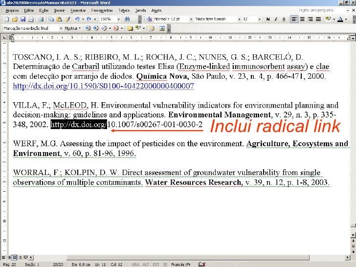 Inclui radical link