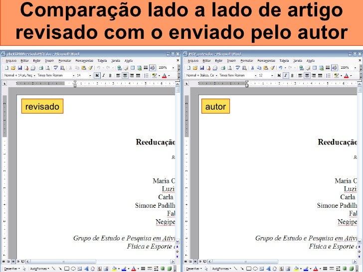 Comparação lado a lado de artigo revisado com o enviado pelo autor autor revisado