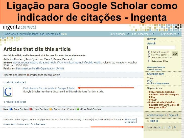 Ligação para Google Scholar como indicador de citações - Ingenta
