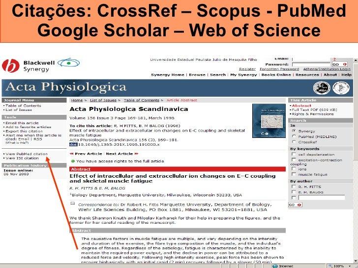 Citações: CrossRef – Scopus - PubMed Google Scholar – Web of Science