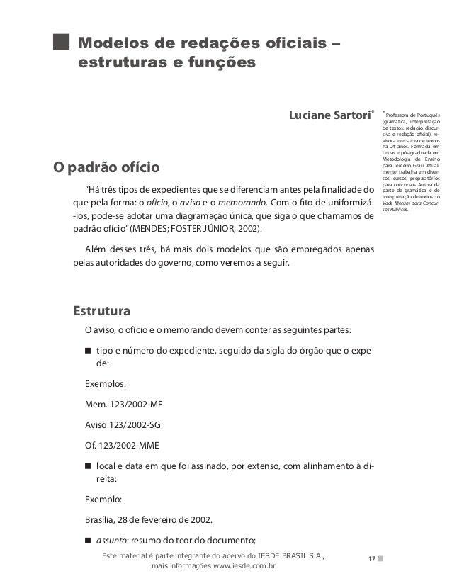 Modelos de redações oficiais –   estruturas e funções                                                              Luciane...